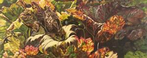 """""""Blätterwald"""" - 20 x 50 cm, Öl auf Leinwand, 2016"""